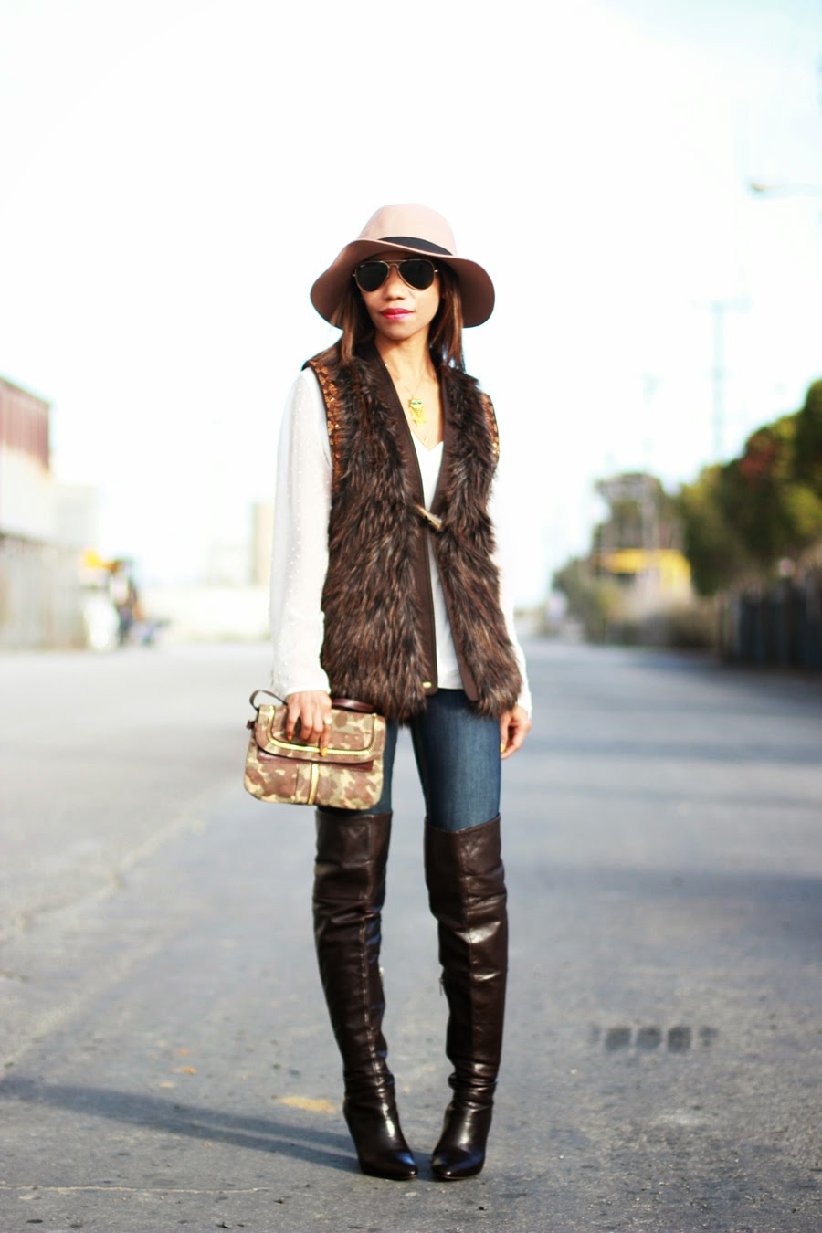 Faux Fur Vest And Over The